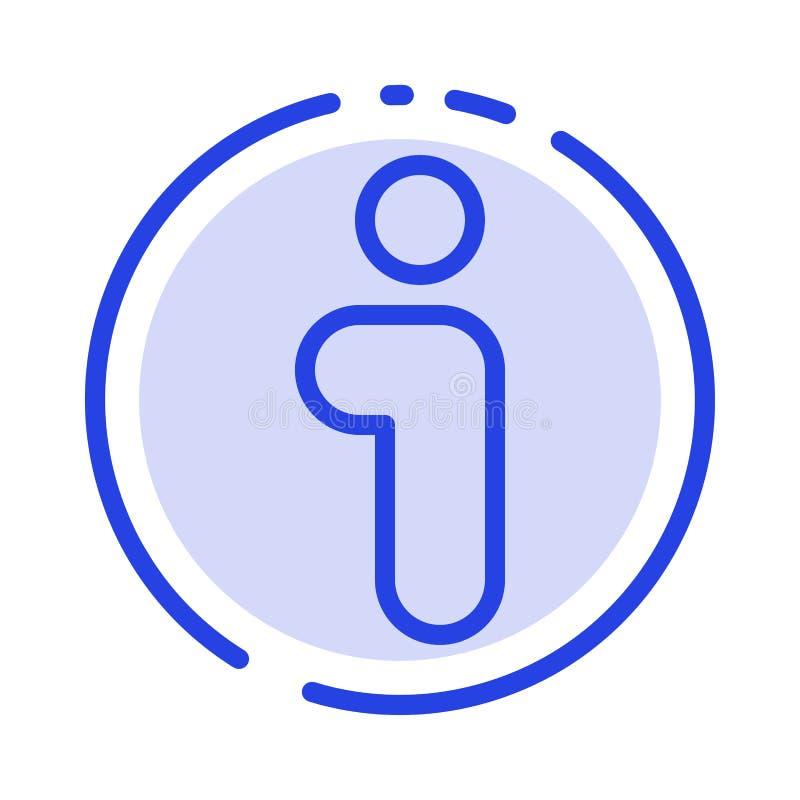 Я, информация, информация, линия значок голубой пунктирной линии интерфейса бесплатная иллюстрация