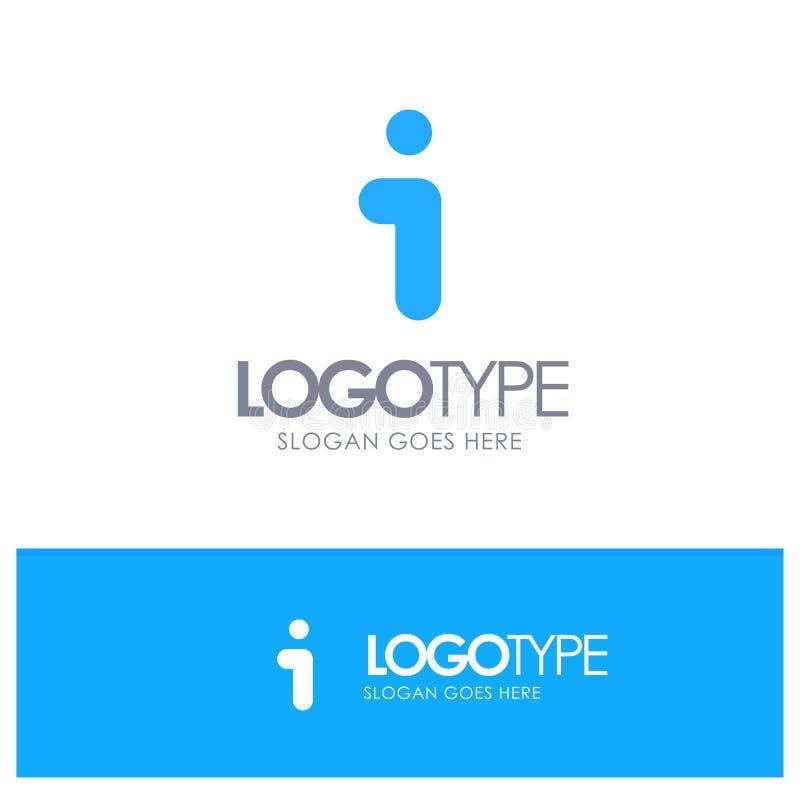 Я, информация, информация, логотип интерфейса голубой твердый с местом для слогана бесплатная иллюстрация