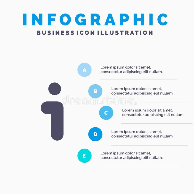 Я, информация, информация, предпосылка представления шагов Infographics 5 значка интерфейса твердая бесплатная иллюстрация