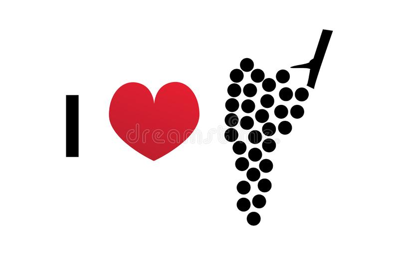 Я люблю значок вектора вина иллюстрация штока