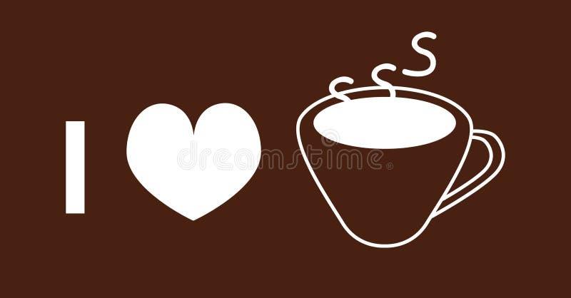 Я люблю значок вектора кофе на коричневой предпосылке иллюстрация штока