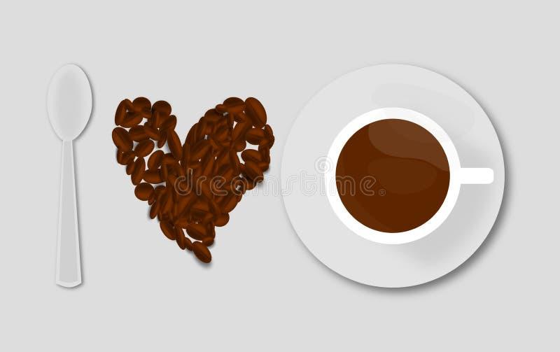 Я люблю иллюстрацию кофе состою из ложки чашки и кофейных зерен иллюстрация штока
