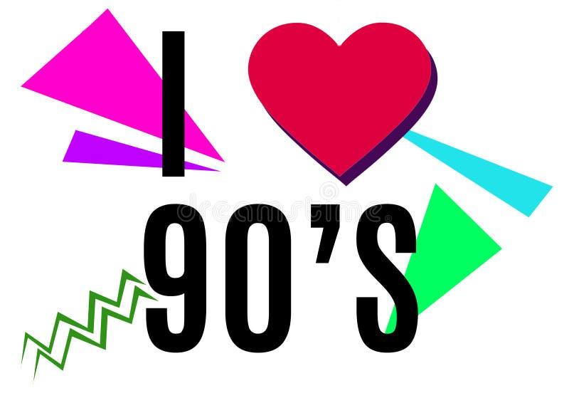 Я люблю иллюстрацию 90's в stile лет 90's стоковые изображения