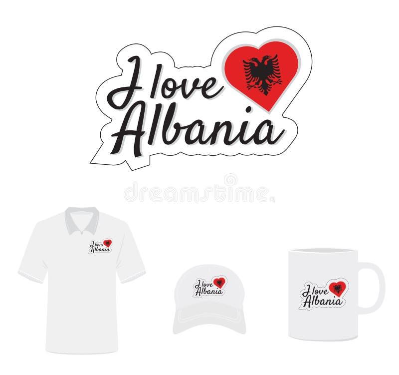 Я люблю логотип Албании, флаг сердца иллюстрация штока