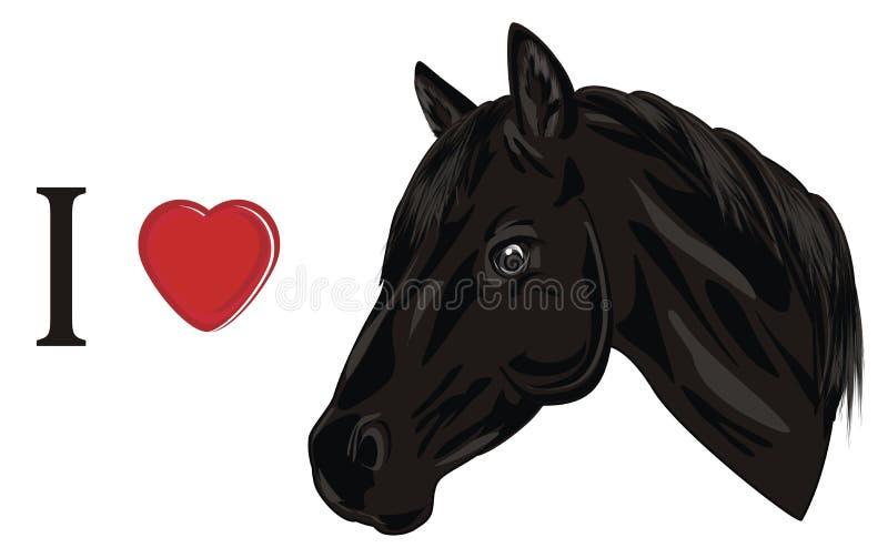Я люблю лошадь иллюстрация вектора