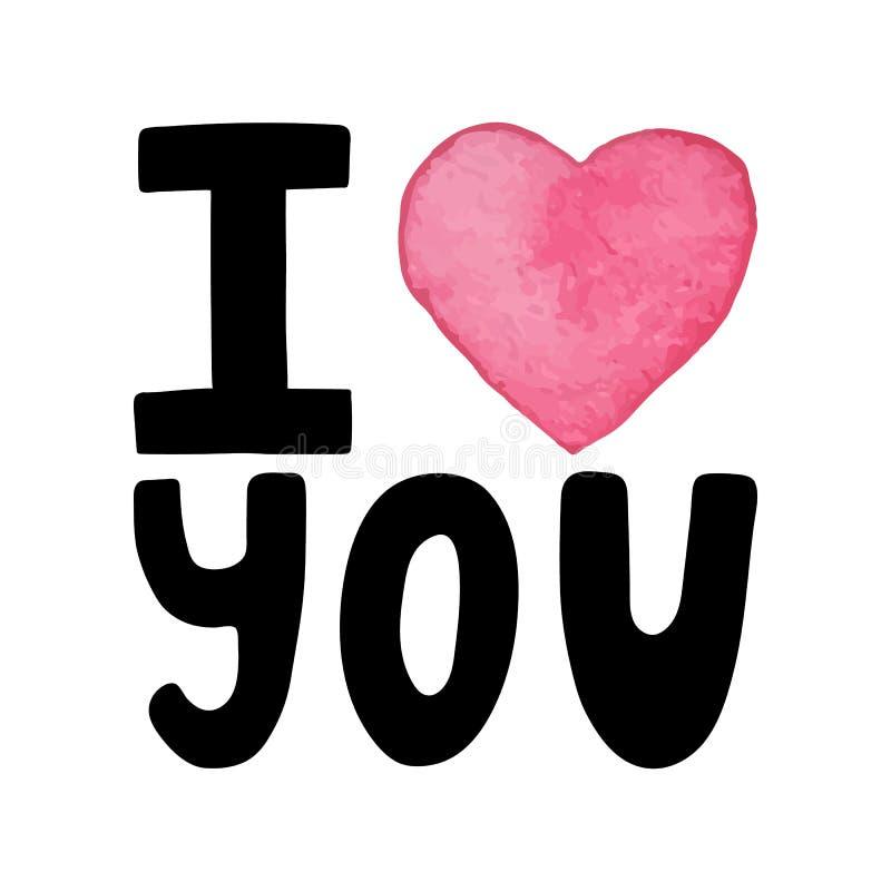 Я люблю нарисованную вы-руку помечающ буквами цитату с сердцем акварели Поздравительная открытка дня валентинок с каллиграфией ро бесплатная иллюстрация