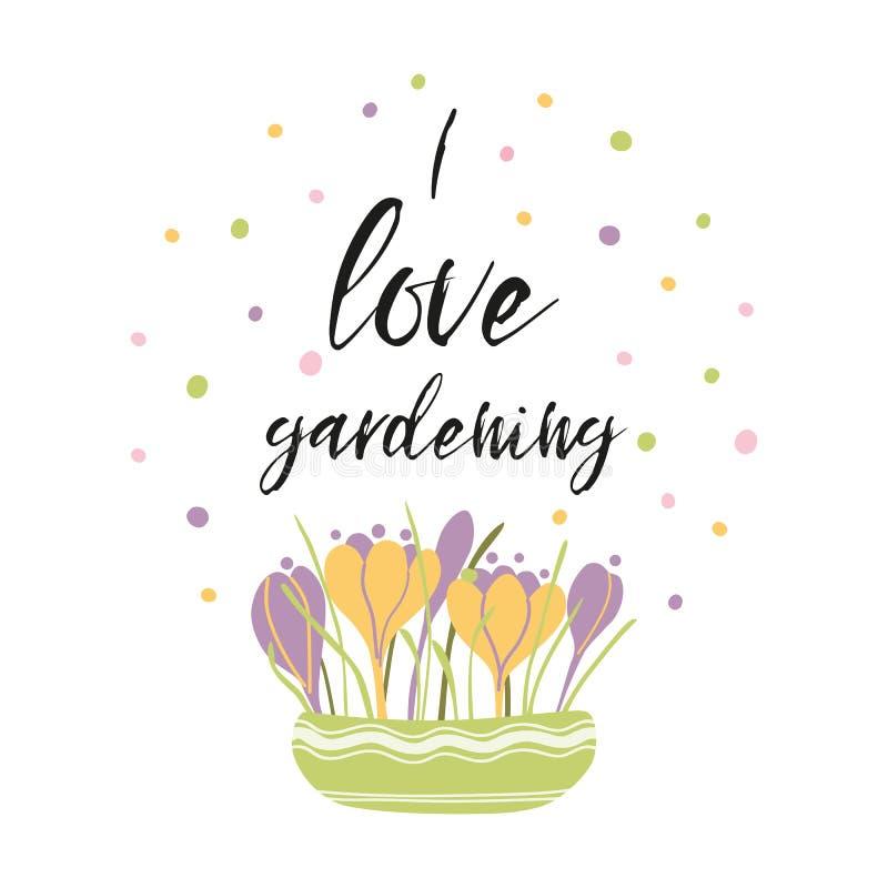 Я люблю садовничая украшенные фразой крокусы букета цветка во фразе вектора бака вдохновляющей бесплатная иллюстрация