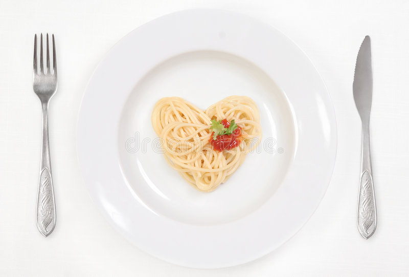 я люблю спагетти стоковые фотографии rf