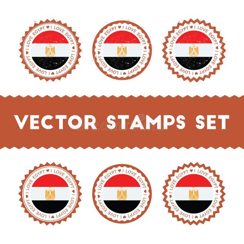 Я люблю установленные штемпеля вектора Египта иллюстрация вектора