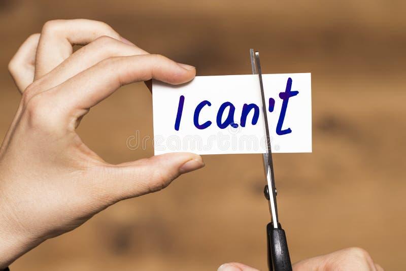 Я могу мотивировка собственной личности - резать письмо t письменного слова стоковое изображение rf