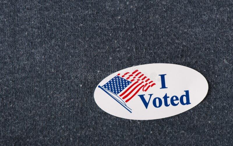 Я проголосовал стикер - крупный план стоковые изображения
