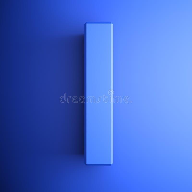 Я синь алфавитного письма, изолированная на голубой предпосылке - иллюстрации перевода 3D бесплатная иллюстрация