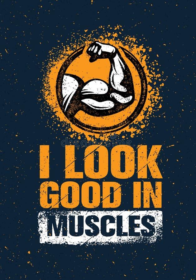 Я смотрю хорошим в мышцах Концепция элемента разминки и дизайна цитаты мотивировки спортзала фитнеса Творческий знак бицепса вект иллюстрация вектора