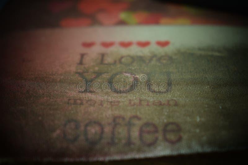 Я тебя люблю больше чем caffee стоковое фото
