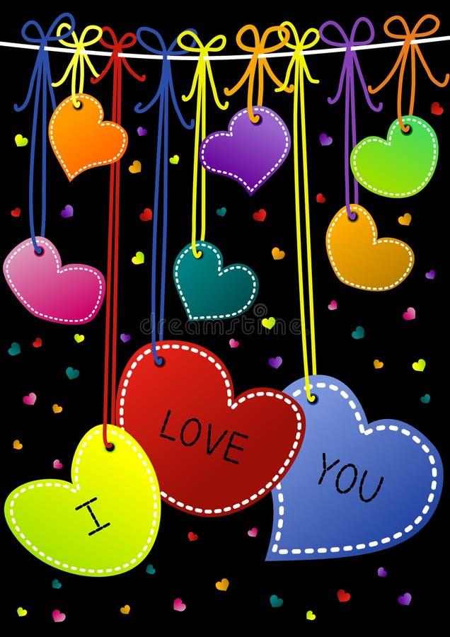 Я тебя люблю вися карточки дня Valentines сердец иллюстрация вектора