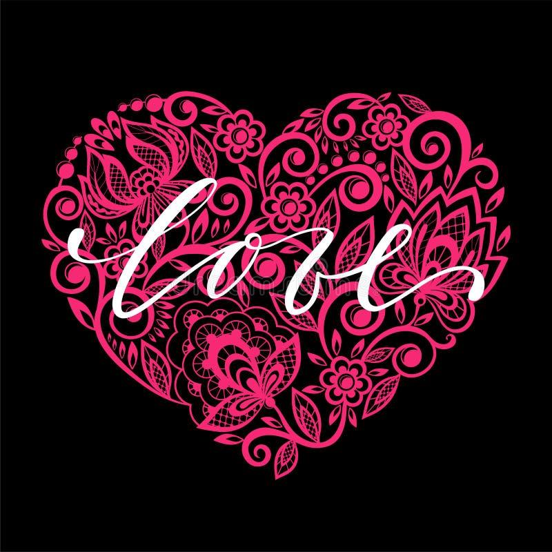 Я тебя люблю вручите вычерченную каллиграфию и почистьте литерность щеткой ручки с свирлью розового сердца флористической дизайн  бесплатная иллюстрация