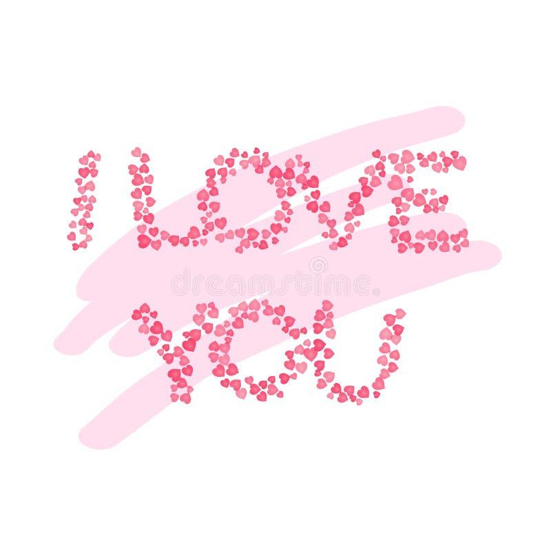 Я тебя люблю текст розовых сердец Шаблон дня Святого Валентина Святого Карта вектора иллюстрация вектора