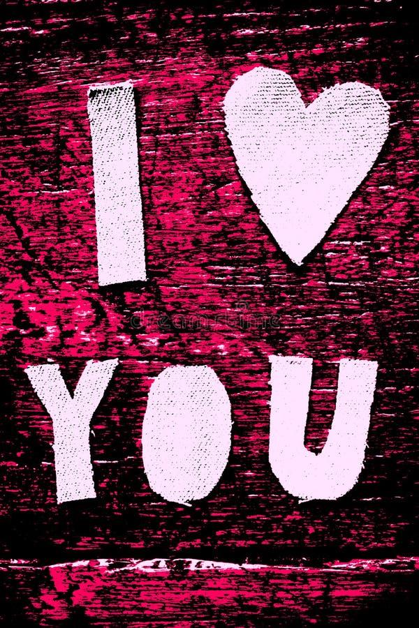 Я ТЕБЯ ЛЮБЛЮ ЧЕРНОТА И ПУРПУР стоковое фото rf