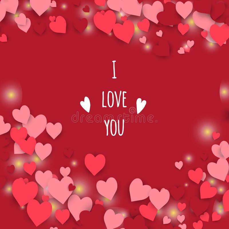 я тебя люблю Абстрактная предпосылка сердец бесплатная иллюстрация