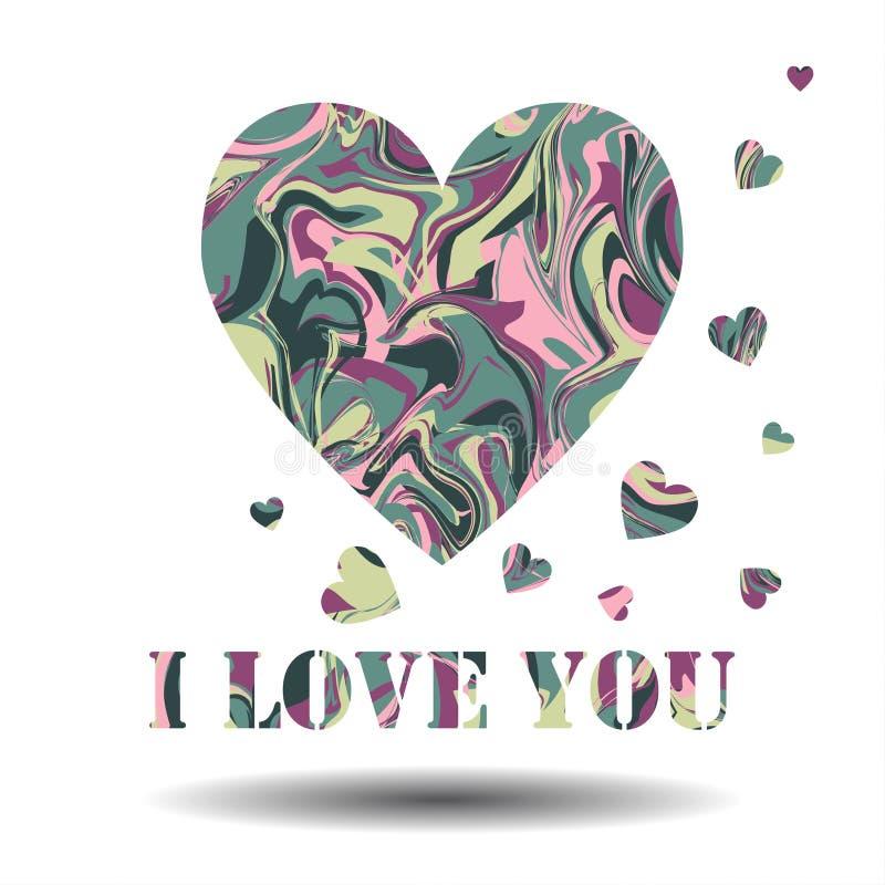 я тебя люблю Карточка вектора, предпосылка сердец обмана зрения Spr бесплатная иллюстрация
