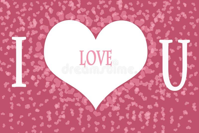 Я тебя люблю на розовой предпосылке картины сердца стоковые изображения rf