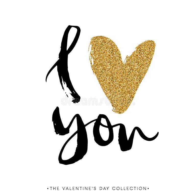 я тебя люблю I сердце вы Карточка яркого блеска каллиграфии дня валентинок иллюстрация штока