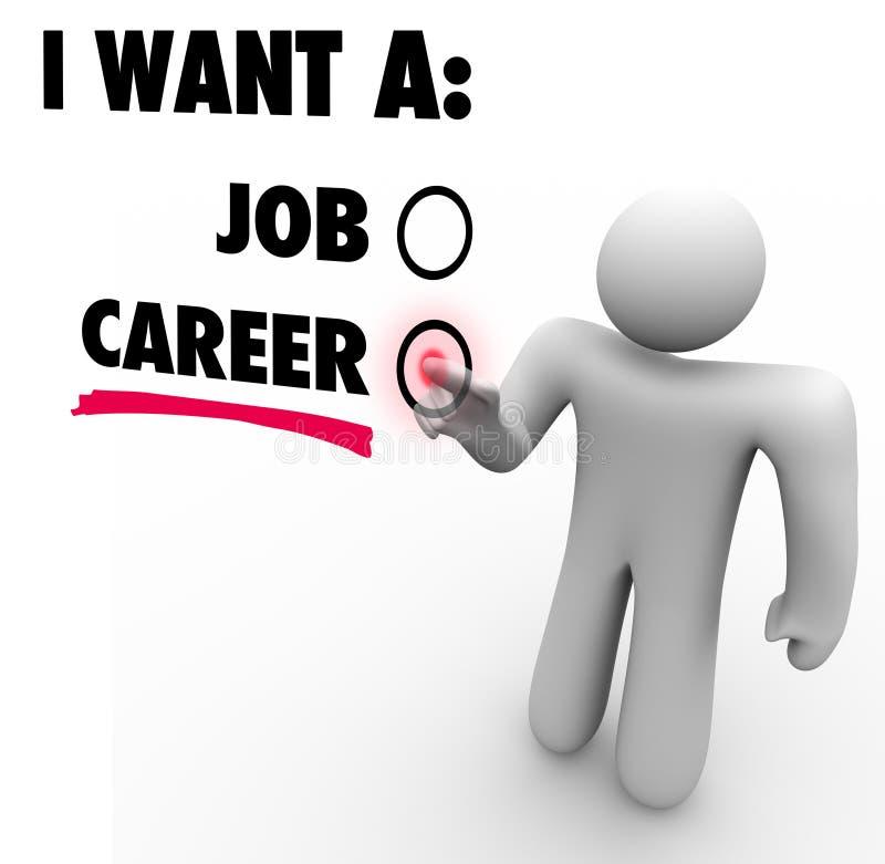 Я хочу работу против карьеры выбираю возможность работы иллюстрация штока