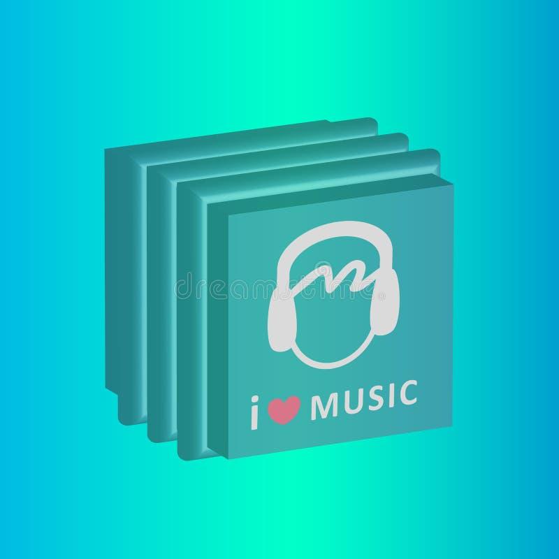Я люблю вектор коробок компактного диска музыки стоковая фотография