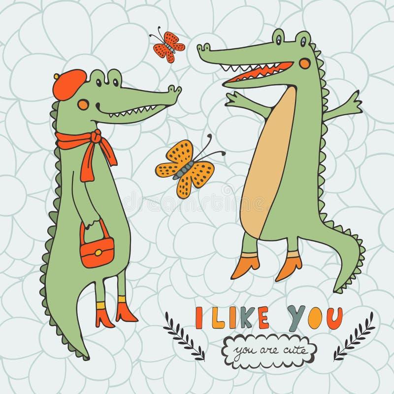 Я люблю вы Вы милый Красивая карточка с нарисованными рукой характерами крокодила иллюстрация вектора