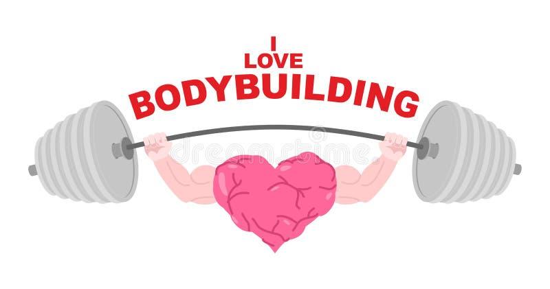 Я люблю заняться культуризмом Символ сильного сердца с большими мышцами иллюстрация вектора