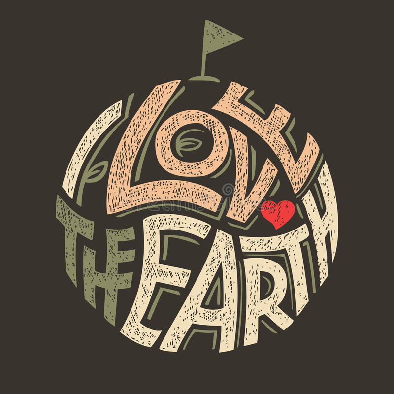 Я люблю дизайн футболки земли иллюстрация вектора