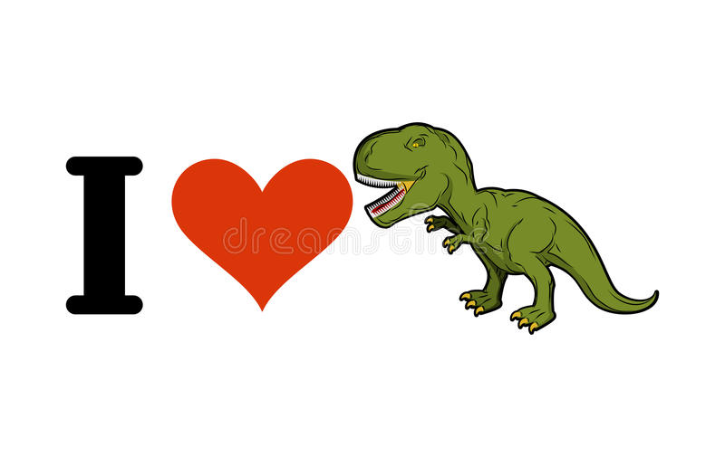 Я люблю динозавра T-Rex Сердце и тиранозавр Pred доисторическое бесплатная иллюстрация