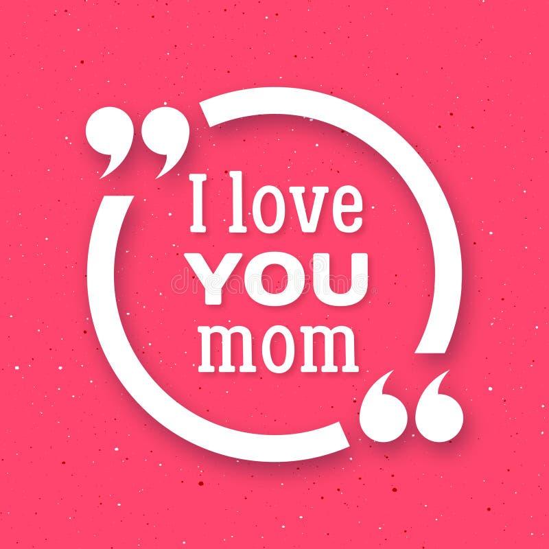 я люблю маму вы Счастливая предпосылка дня матери иллюстрация штока