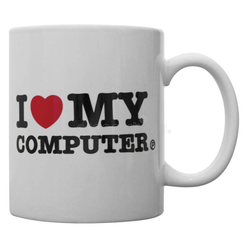 Я люблю мою кружку компьютера стоковые фотографии rf