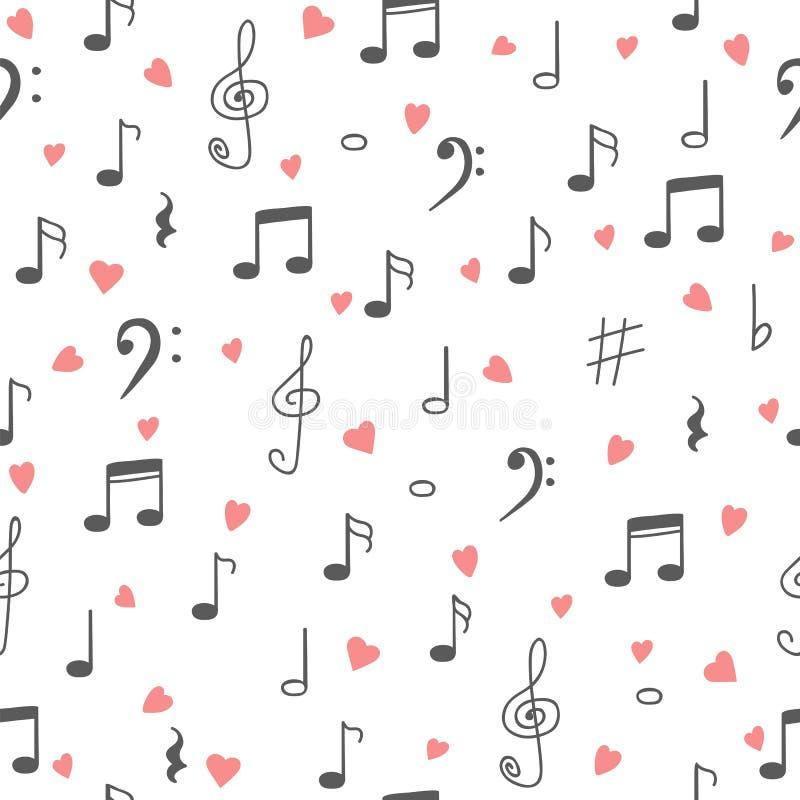 я люблю нот Предпосылка картины музыки безшовная Musi нарисованное рукой иллюстрация штока