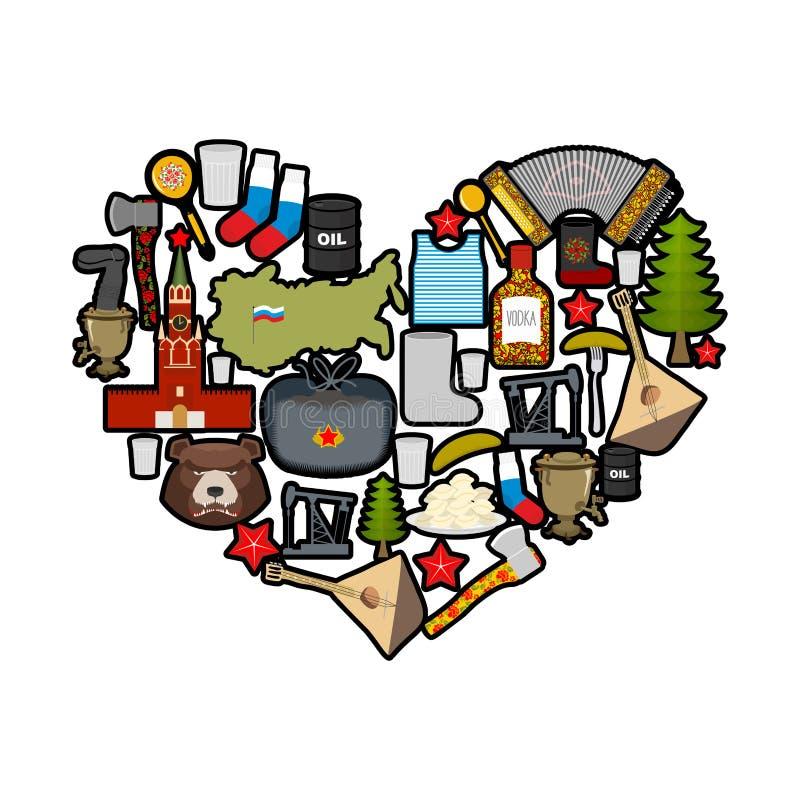 Я люблю Россию Сердце визирований Российской Федерации бесплатная иллюстрация