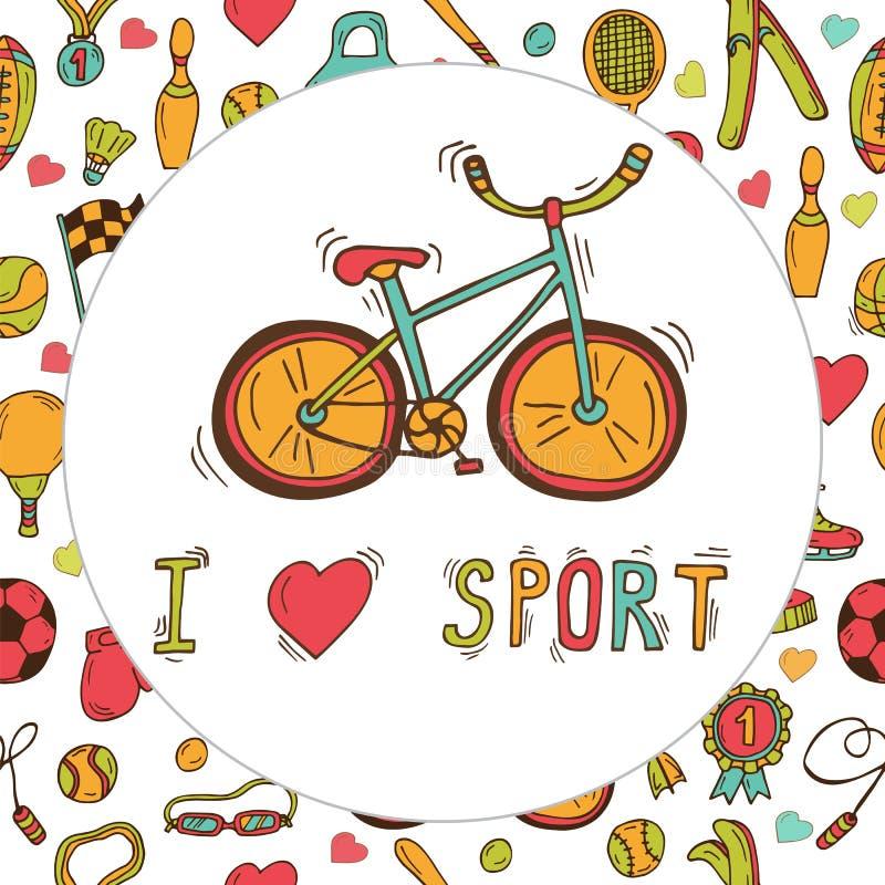 Я люблю спорт Эмблема велосипеда Нарисованная рукой предпосылка спорта doodle иллюстрация вектора