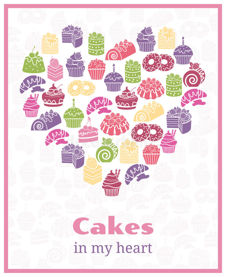 Я люблю торты Знак сердца выпечки форменный иллюстрация штока