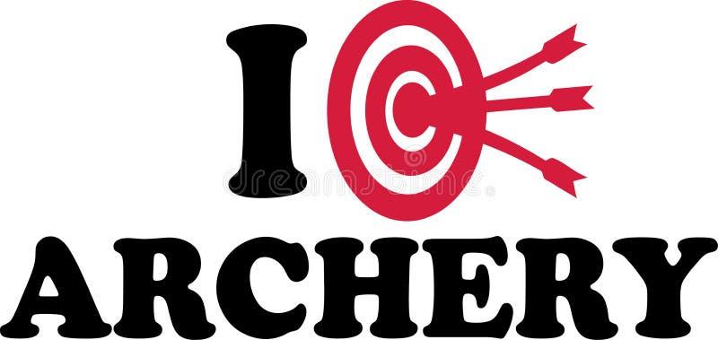 Я люблю цель Archery иллюстрация вектора