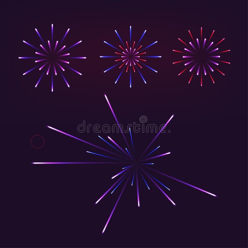 Fireworks on dark background vector illustration. eps 10 royalty free illustration