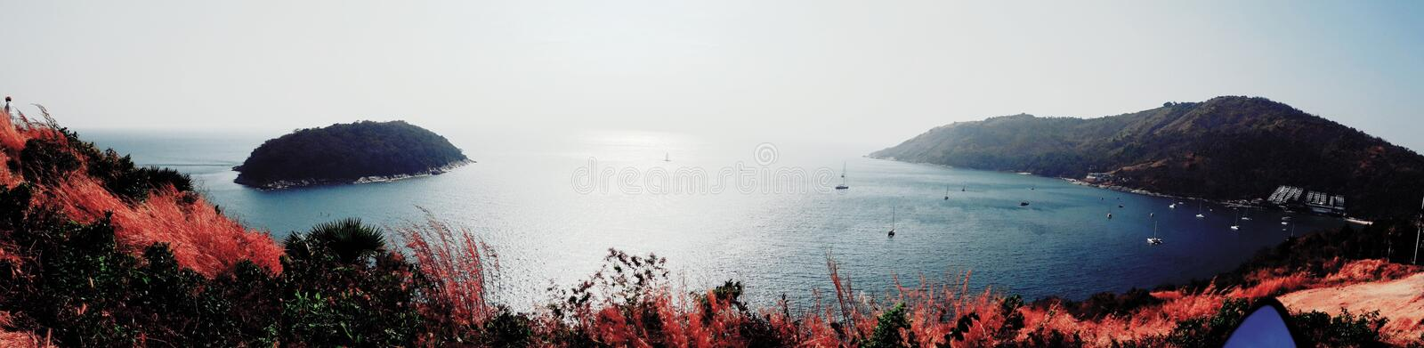 The sea mountains are beautiful nature. royalty free stock image