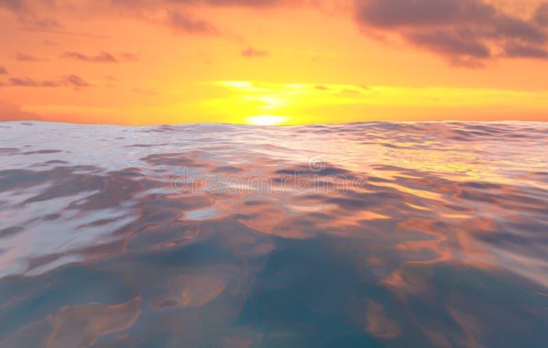 ีSunset At Sea Ocean, Wave, Pastel sunset, 3D Rendering. Illustration royalty free stock photos