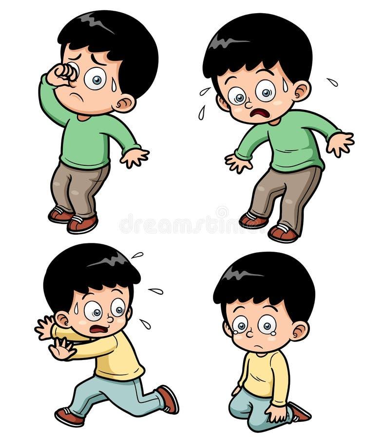 ฺBoy комплект выражения иллюстрация вектора