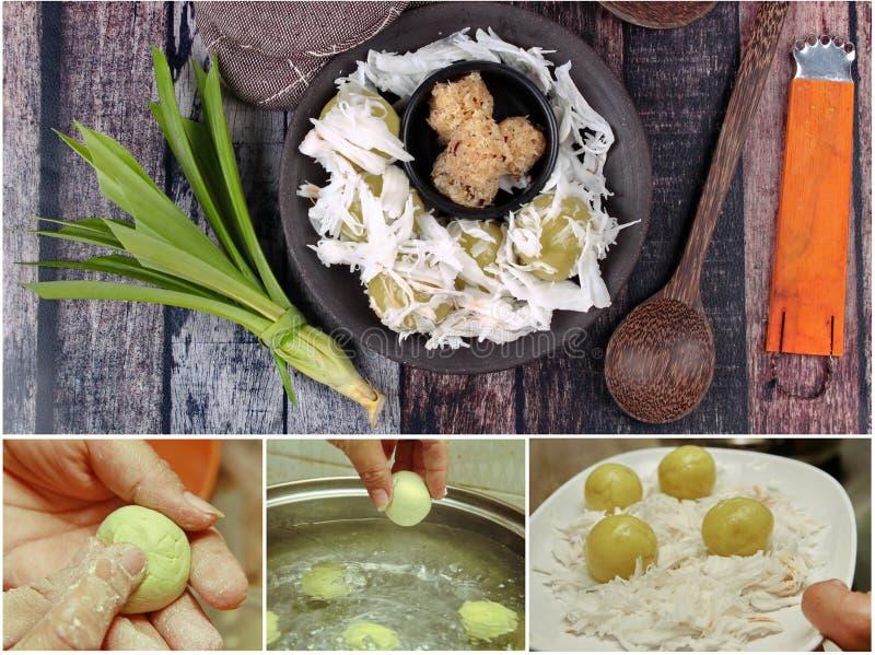 ็Homemade som lagar mat den ångade söta mosade kokosnöten för mjölsjalen, överträffade mjuk kokosnötrulle arkivbild