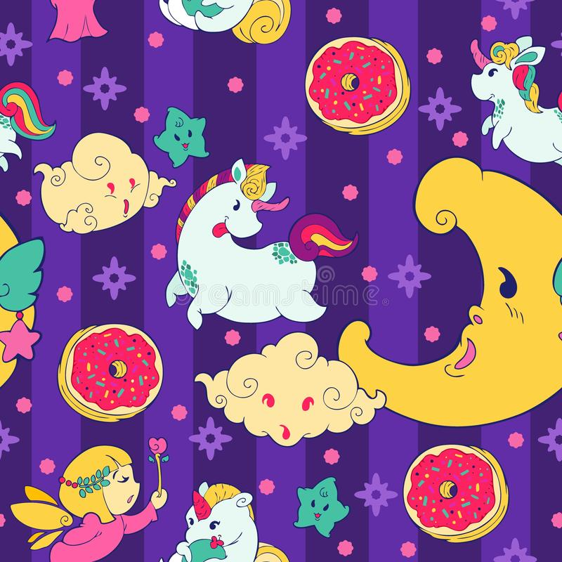 ๊ Unicorn Fairy doughnut cuppie fantasy doodle Kawaii cartoons Sömlöst mönster med levande pastellfärg stock illustrationer