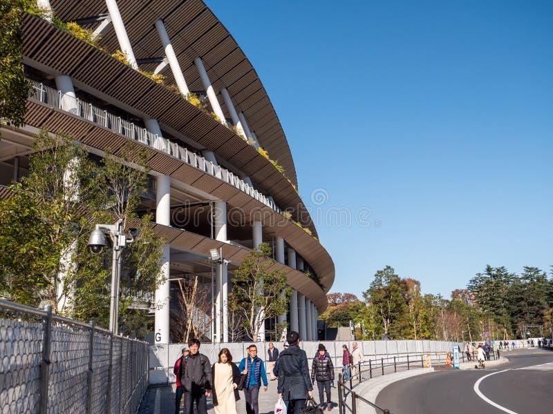 29 11 2019 — 日本东京:日本新建国家体育场为2020年奥运会做准备 免版税图库摄影