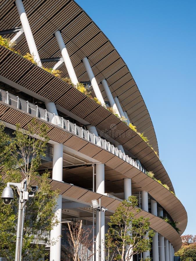 29 11 2019 — 日本东京:日本新建国家体育场为2020年奥运会做准备 免版税库存照片