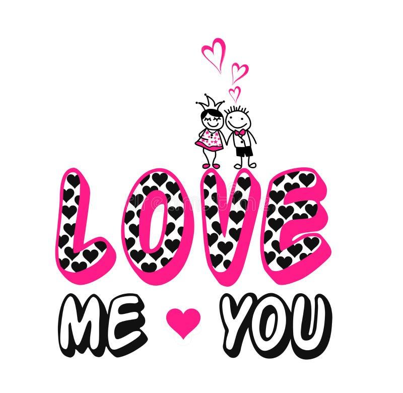 'ámeme usted ', los niños y impresión de la camiseta de la mujer stock de ilustración