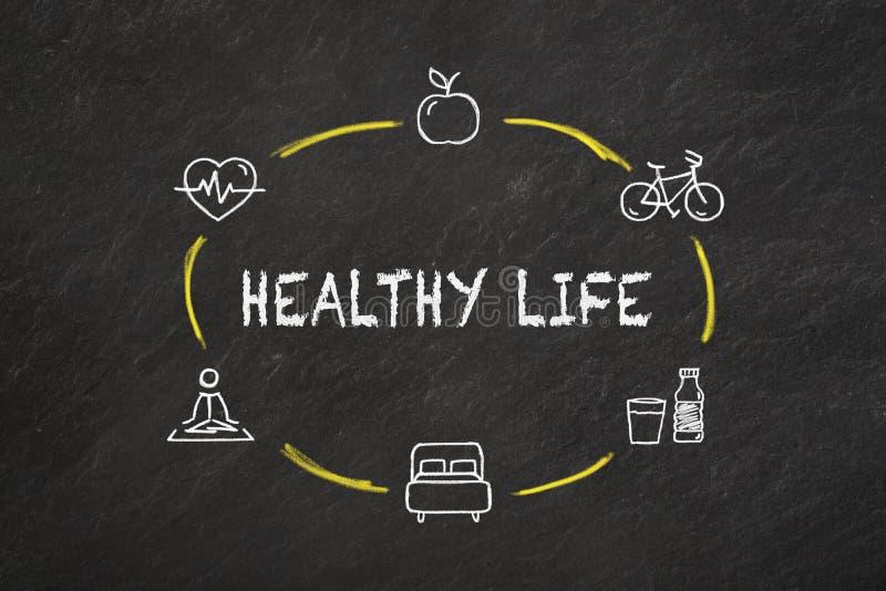 '健康生活'文本和象在黑板 库存照片