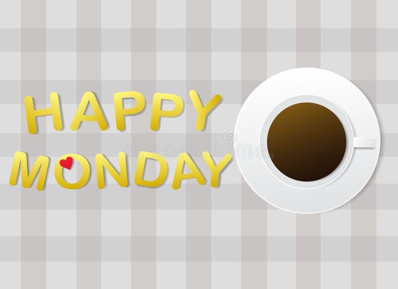 '愉快的星期一'信件和一杯咖啡在灰色织品背景的 库存例证